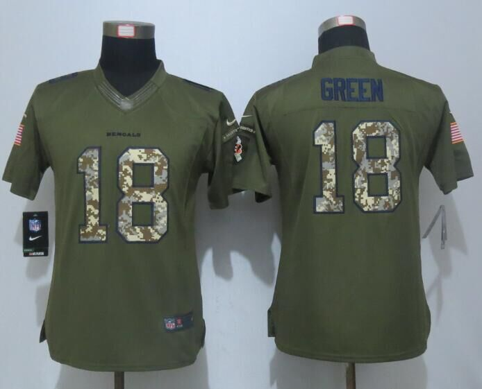 Women New Nike Cincinnati Bengals 18 Green Green Salute To Service Limited Jersey
