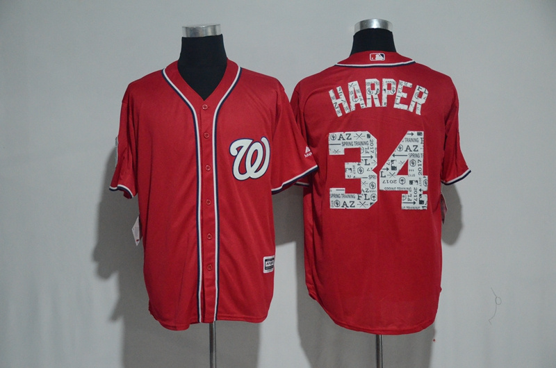 2017 MLB Washington Nationals 34 Harper Red Fashion Edition Jerseys