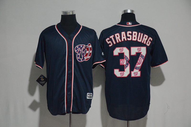 2017 MLB Washington Nationals 37 Strasburg Blue Fashion Edition Jerseys
