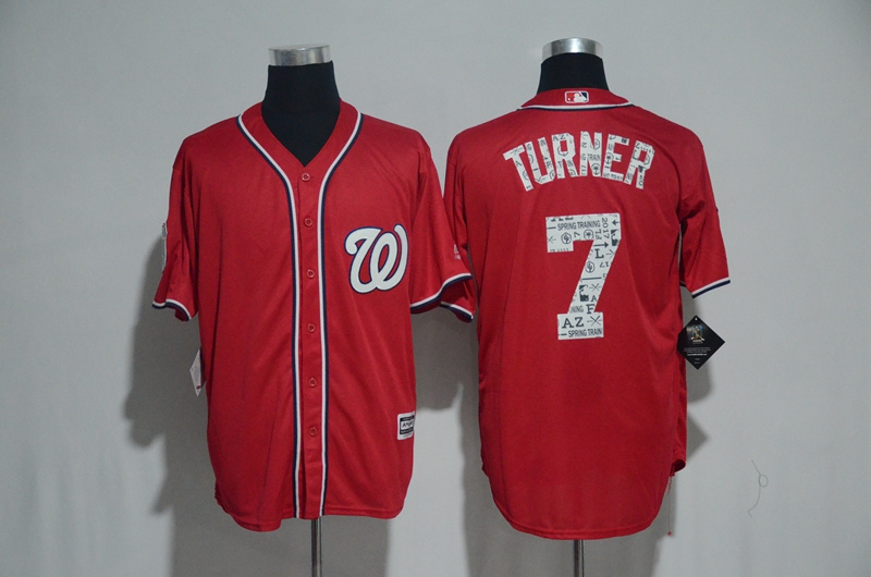 2017 MLB Washington Nationals 7 Turner Red Fashion Edition Jerseys