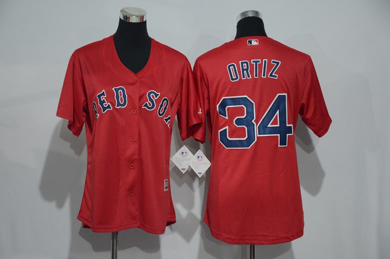 womens-2017-mlb-boston-red-sox-34-ortiz-red-jerseys
